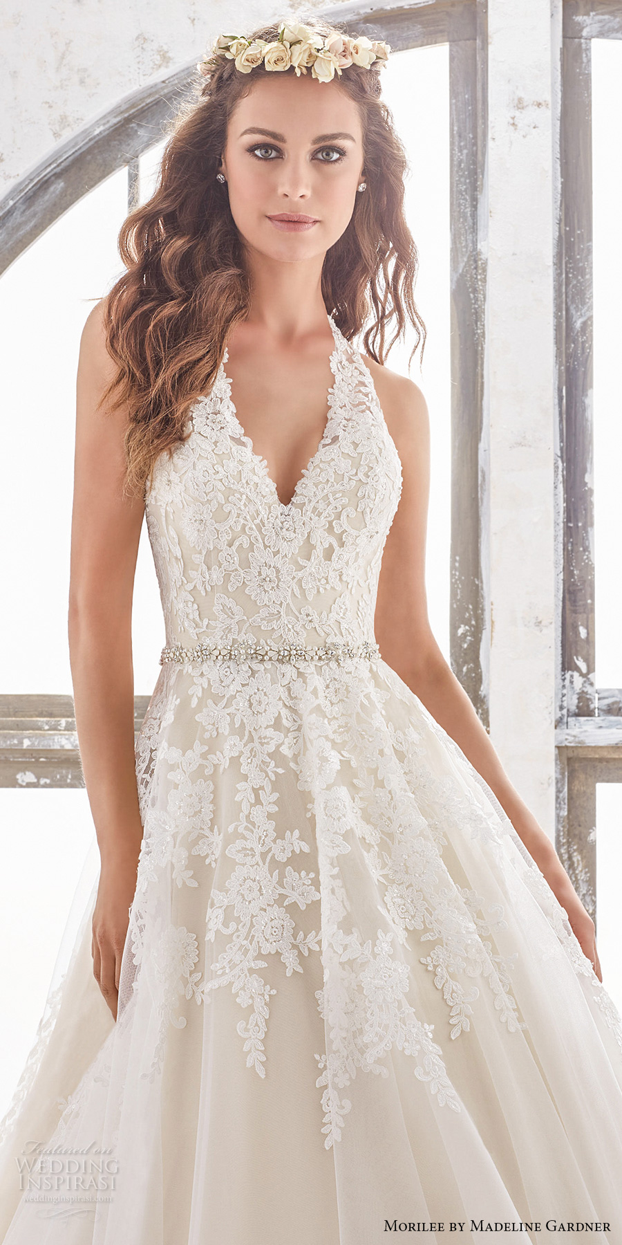 morilee spring 2017 bridal sleeveless halter v neck heavily embellished bodice romantic a line wedding dress open low back chapel train (5513) zv