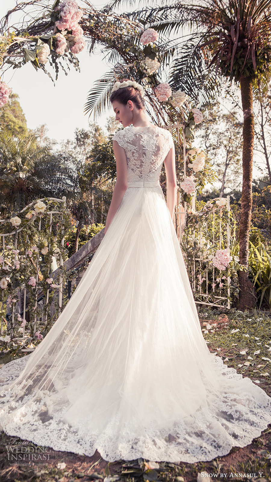 snow annasul y 2017 bridal (sa3350b) lace cap sleeves sweetheart surplice pleated bodice a line wedding dress bv lace hem illusion back