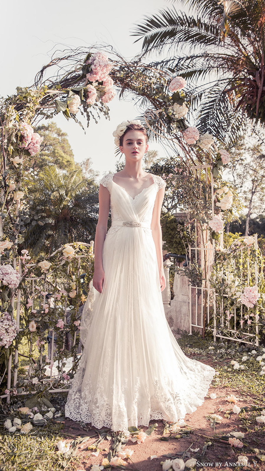 snow annasul y 2017 bridal (sa3350b) lace cap sleeves sweetheart surplice pleated bodice a line wedding dress mv lace hem
