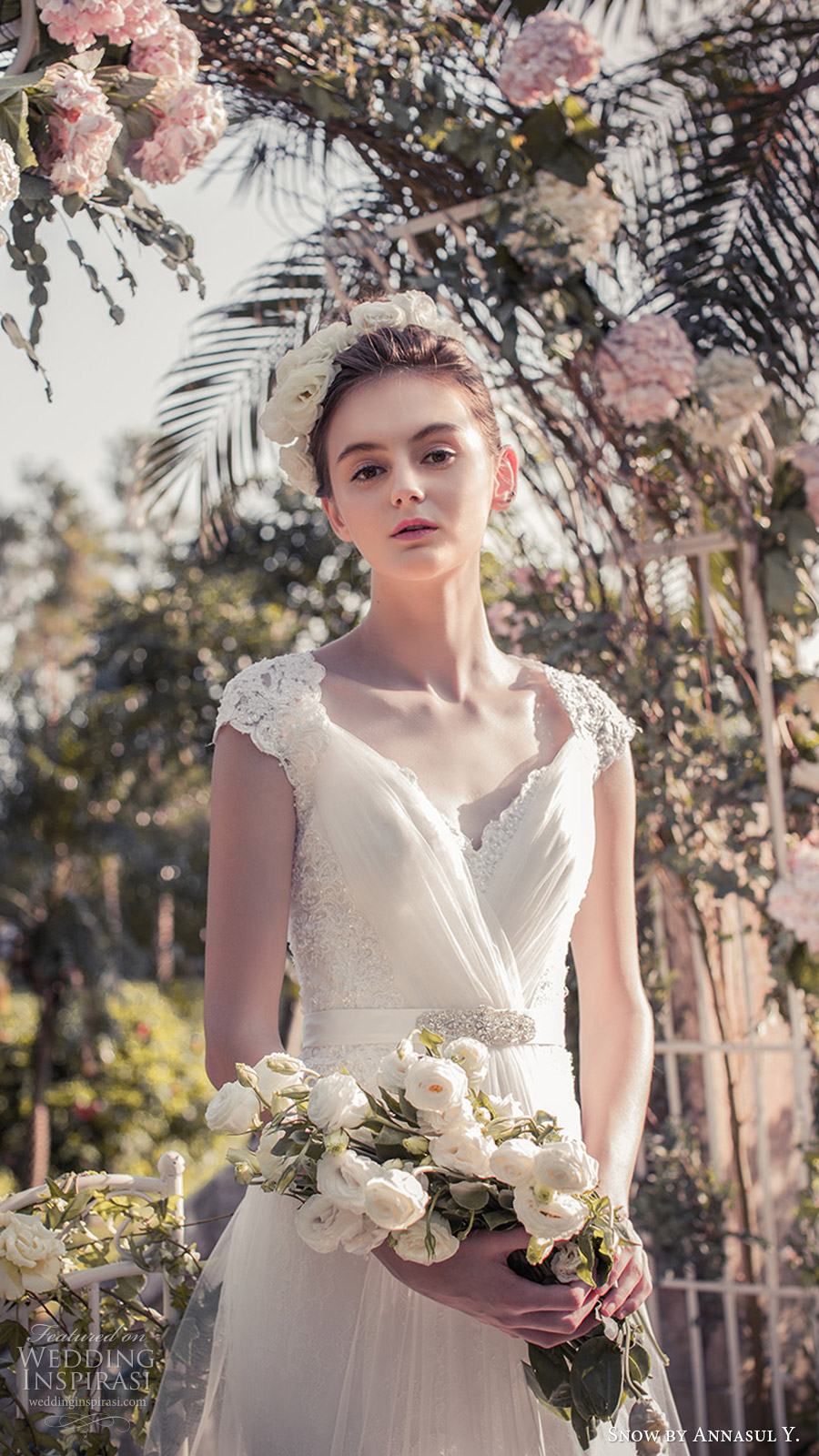 snow annasul y 2017 bridal (sa3350b) lace cap sleeves sweetheart surplice pleated bodice a line wedding dress zv
