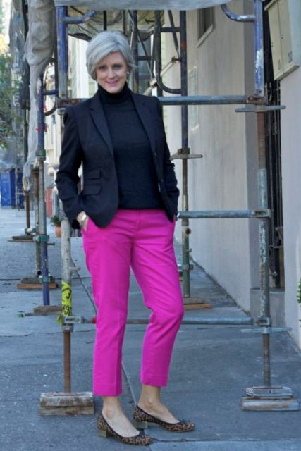 With navy blue turtleneck, blazer and leopard flats
