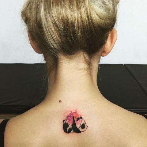 Watercolor panda tattoo on the back