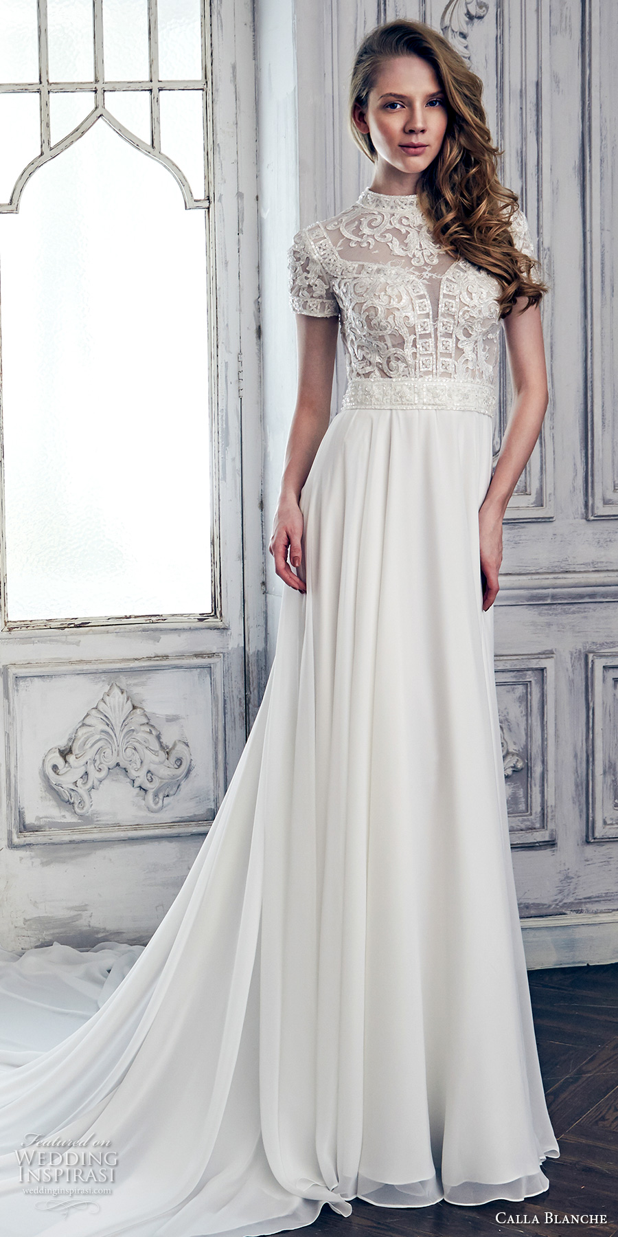 calla blanche spring 2017 bridal short sleeves high jewel neck heavily embellished bodice romantic a line wedding dress keyhole back chapel train (17105) mv