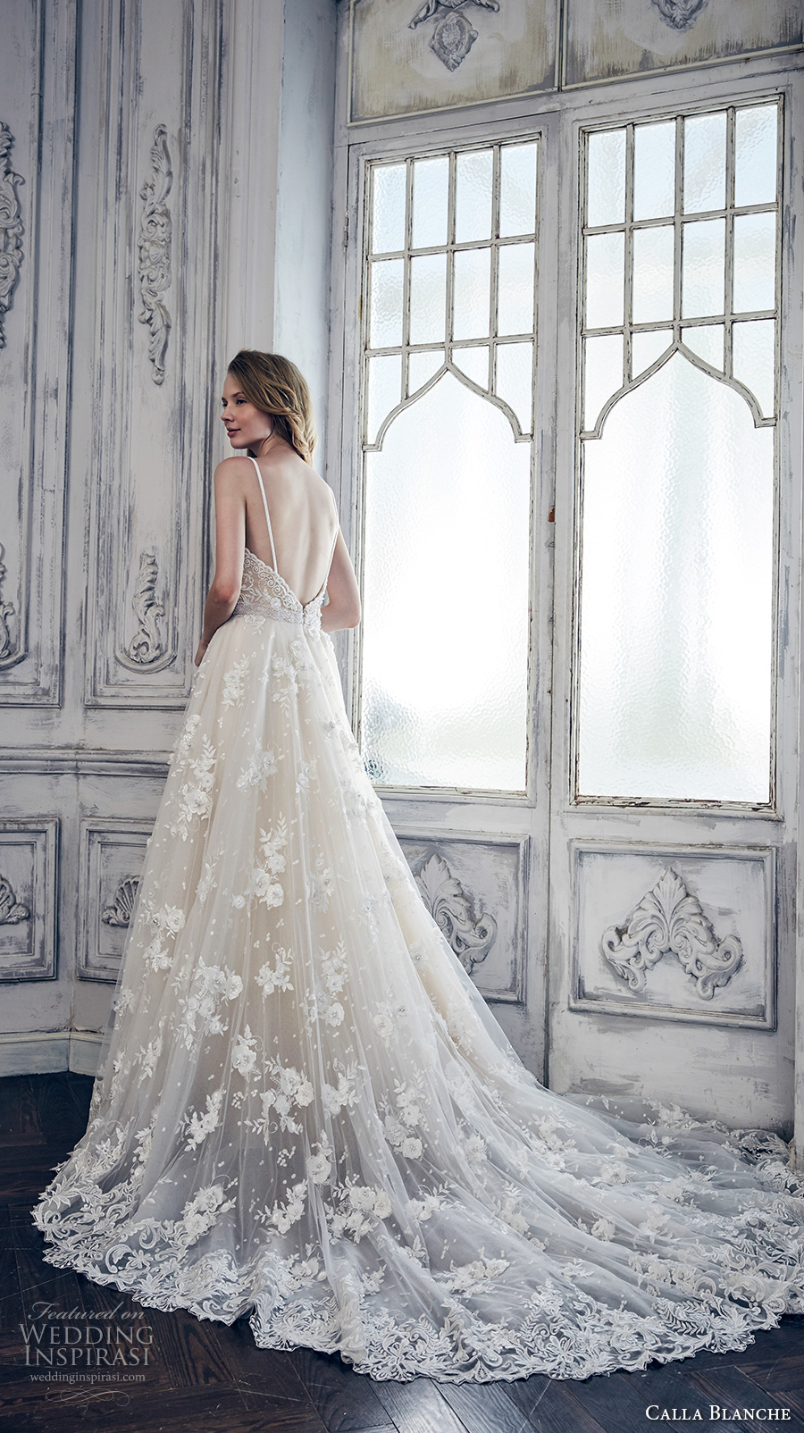 calla blanche spring 2017 bridal sleeveless spagetti strap deep plunging sweetheart neckline heavily embroidered bodice romantic a line wedding dress open low back chapel train (17128) bv