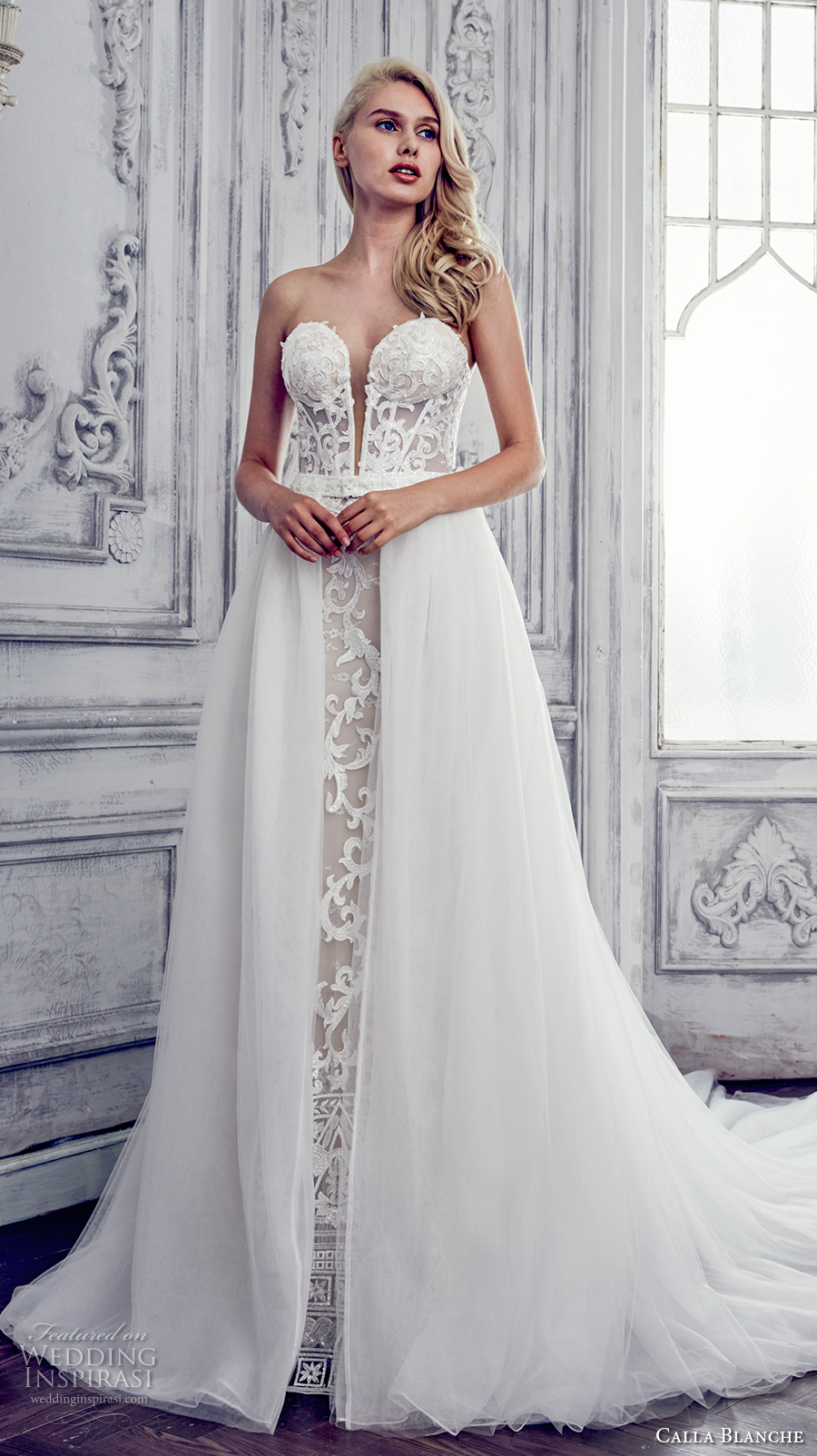calla blanche spring 2017 bridal strapless deep plunging sweettheart neckline full embroidered glamorous sexy sheath wedding dress overskirt a line chapel train (17117) mv