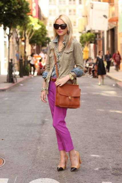 With jacket, brown crossbody bag and two color shoes