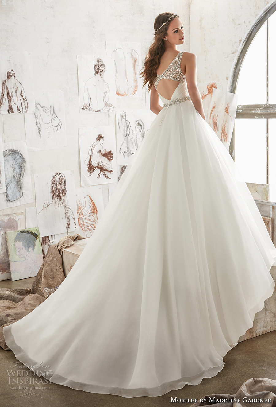 morilee spring 2017 bridal sleeveless embroidered strap wrap over ruched bodice romantic elegant a line wedding dress keyhole back chapel train (5507) bv
