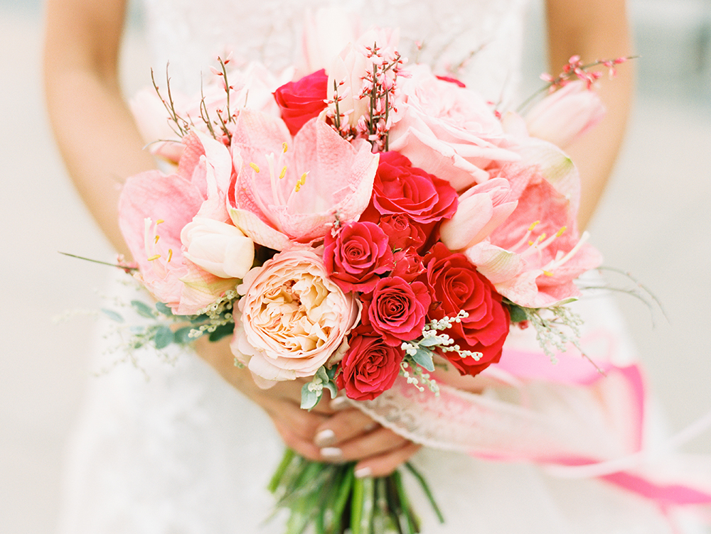 romantic pink bouquets - photo by Erin Stubblefield http://ruffledblog.com/chic-city-valentines-day-wedding-inspiration
