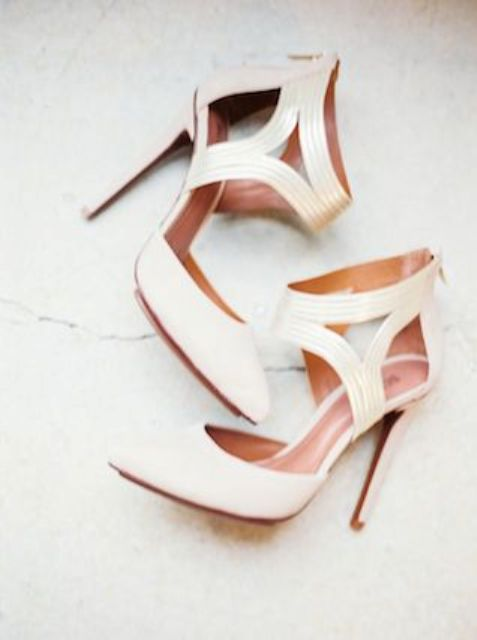 refined creamy ankle strap wedding shoes