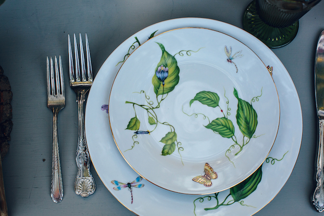 Leaf and butterfly pattern china | Christina Carroll Photography