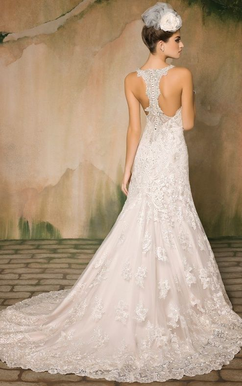 lace fit and flare V-neck gown with a heavily beaded racerback strap