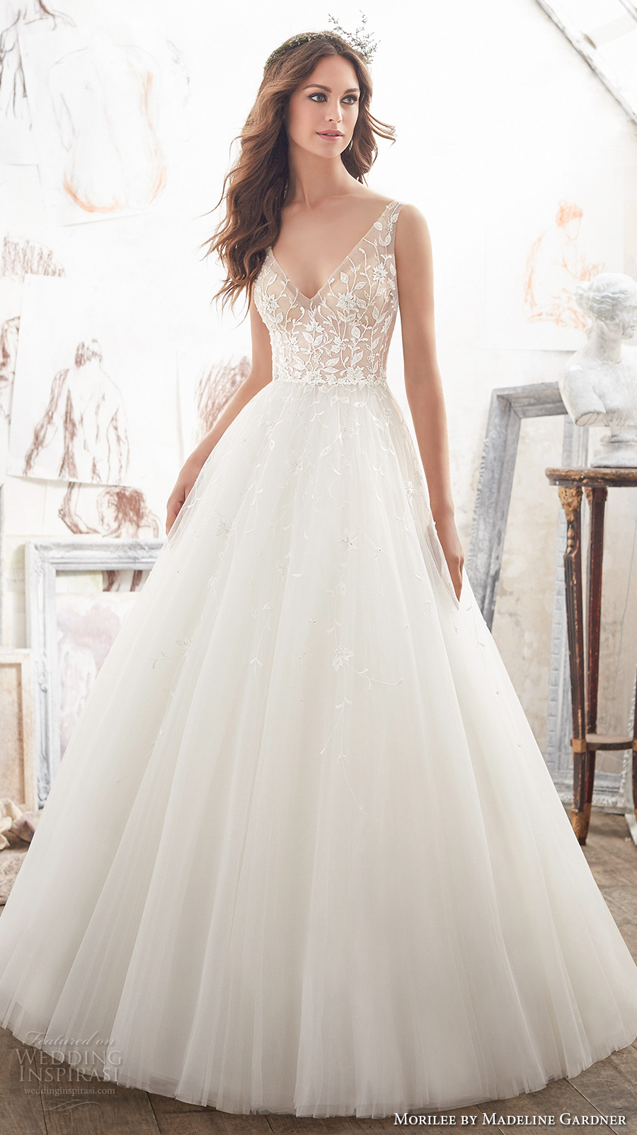 morilee spring 2017 bridal sleeveless v neck heavily embellished bodice tulle skirt romantic a line wedding dress open v back chapel train (5515) mv