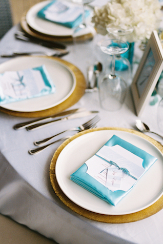 Blue and gold place settings Asia Pimentel Photography