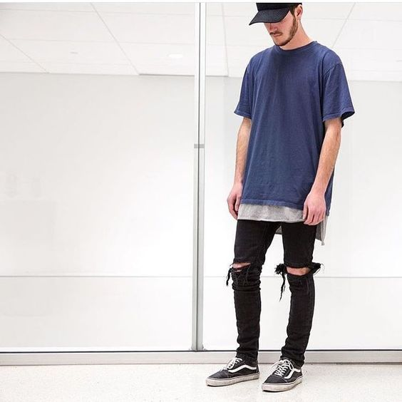 black ripped denim,black Vans, two layered t-shirts