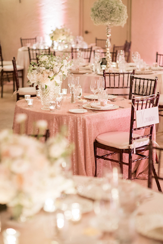 Blush pink Parisian style wedding reception | Starfish Studios