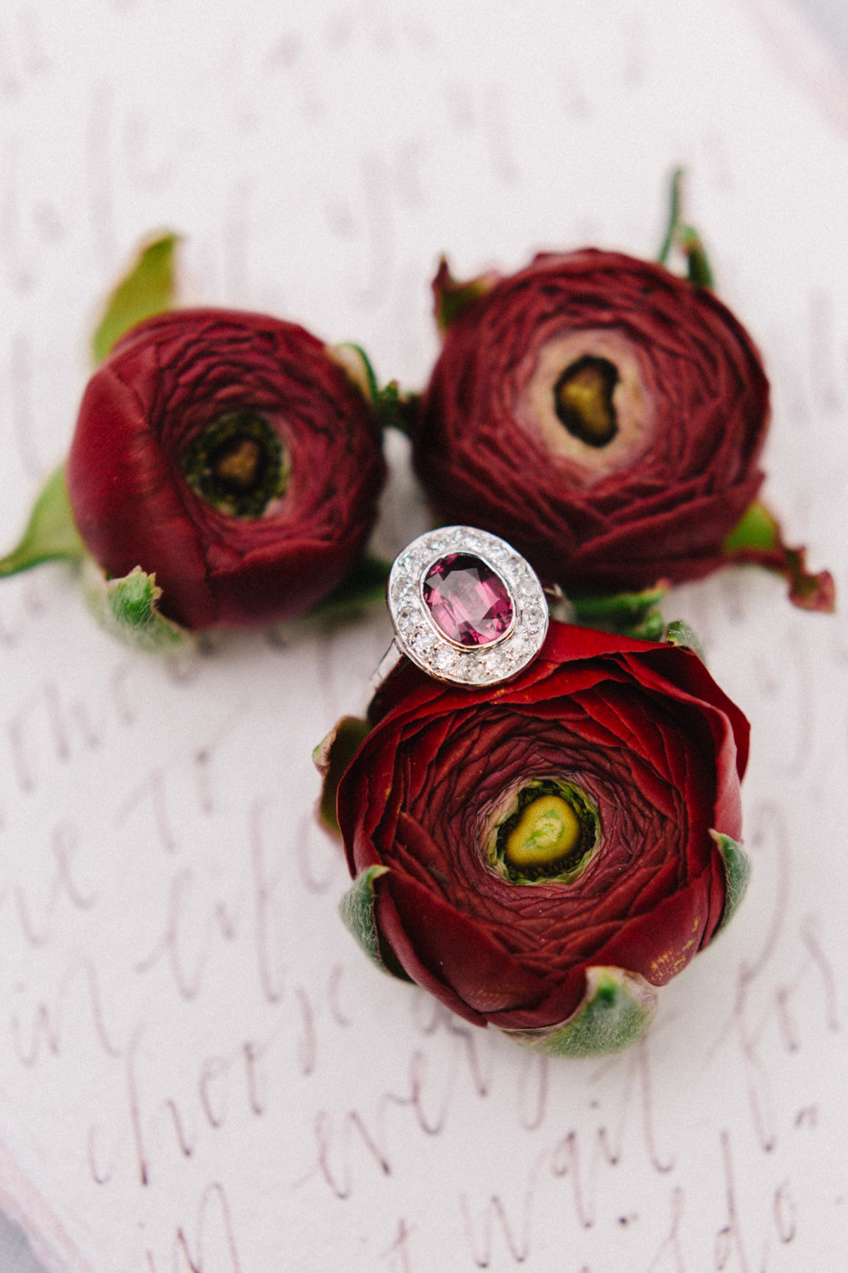 unique engagement rings - photo by 4 Corners Photography http://ruffledblog.com/backyard-elopement-inspiration-for-valentines-day