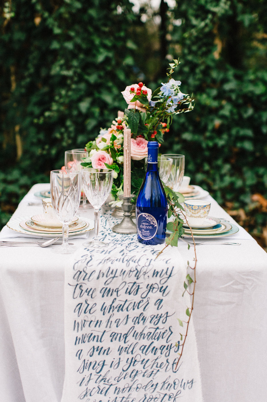 written table runners - photo by 4 Corners Photography http://ruffledblog.com/backyard-elopement-inspiration-for-valentines-day