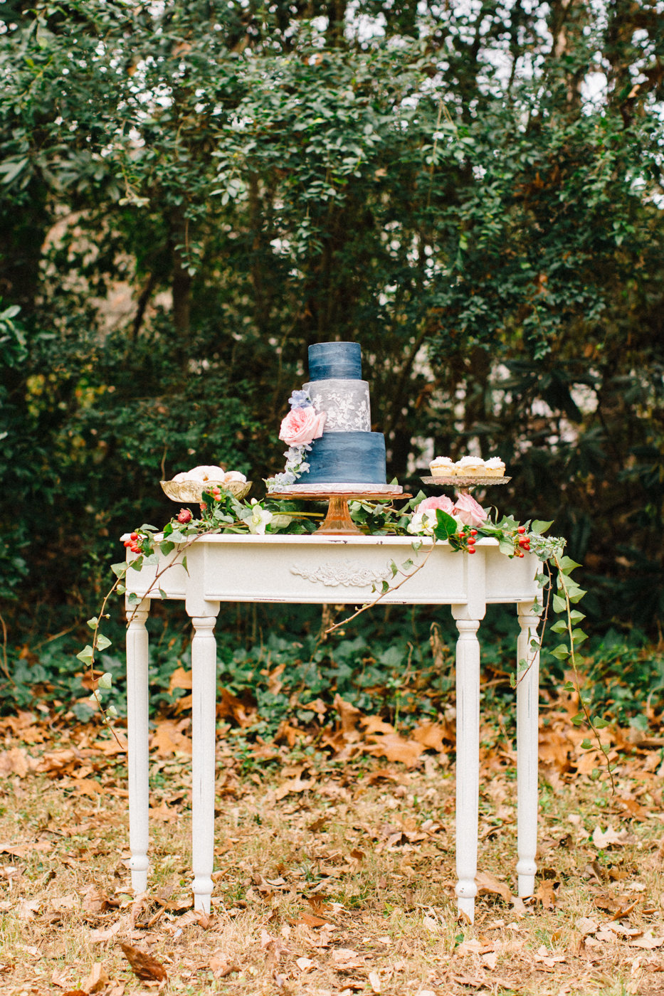 cake tables - photo by 4 Corners Photography http://ruffledblog.com/backyard-elopement-inspiration-for-valentines-day