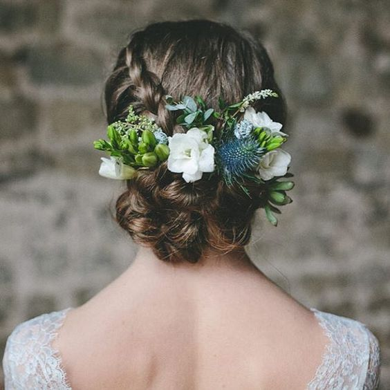 braided up with flowers, thistle and succulents