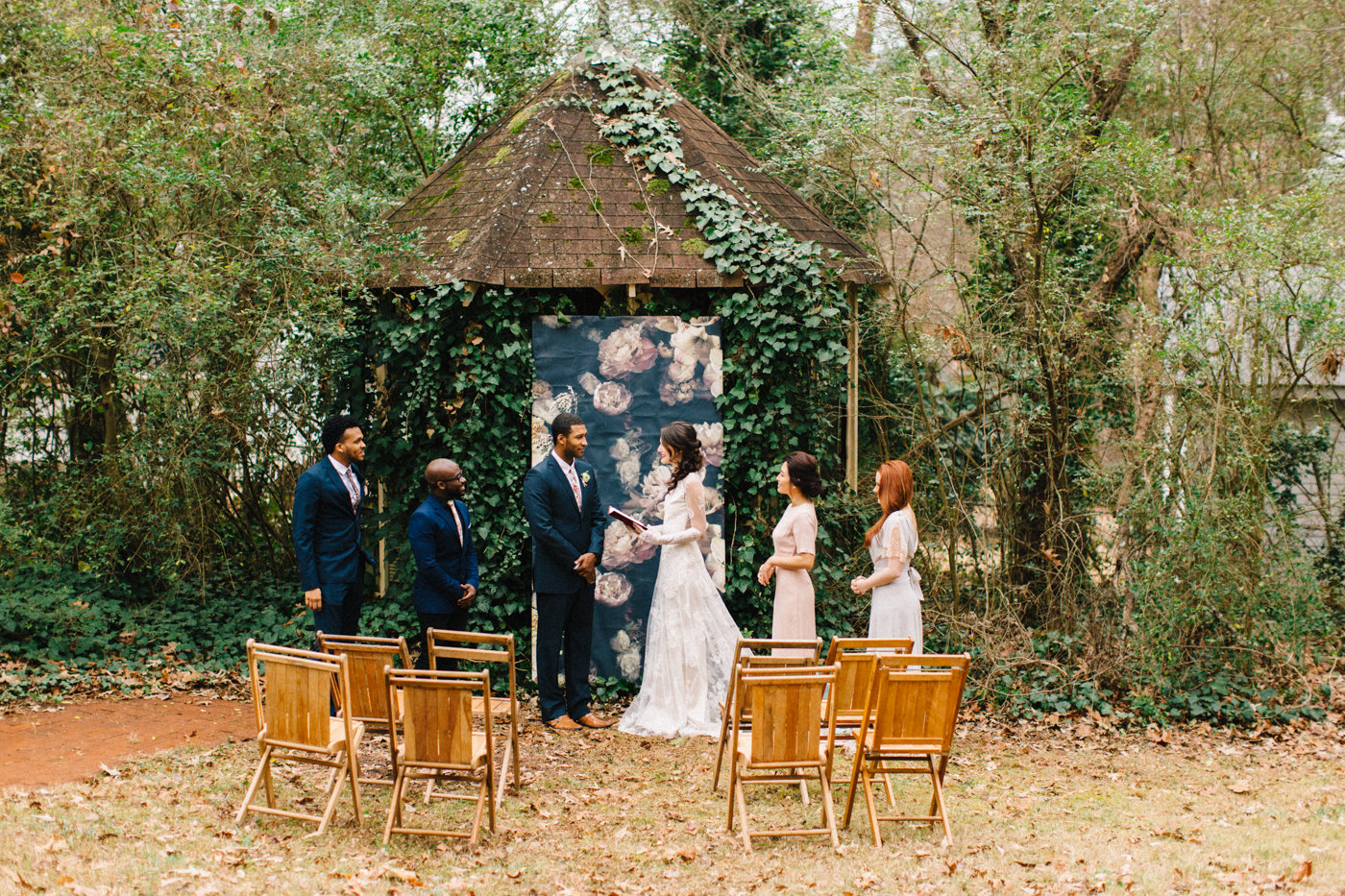 garden ceremonies - photo by 4 Corners Photography http://ruffledblog.com/backyard-elopement-inspiration-for-valentines-day