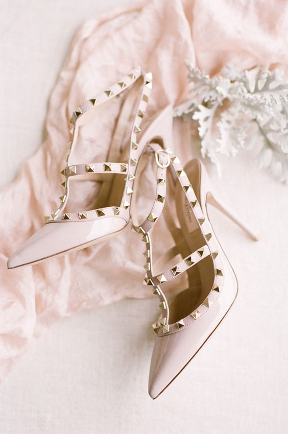 blush studded Valentino heels are a hot choice for any bride