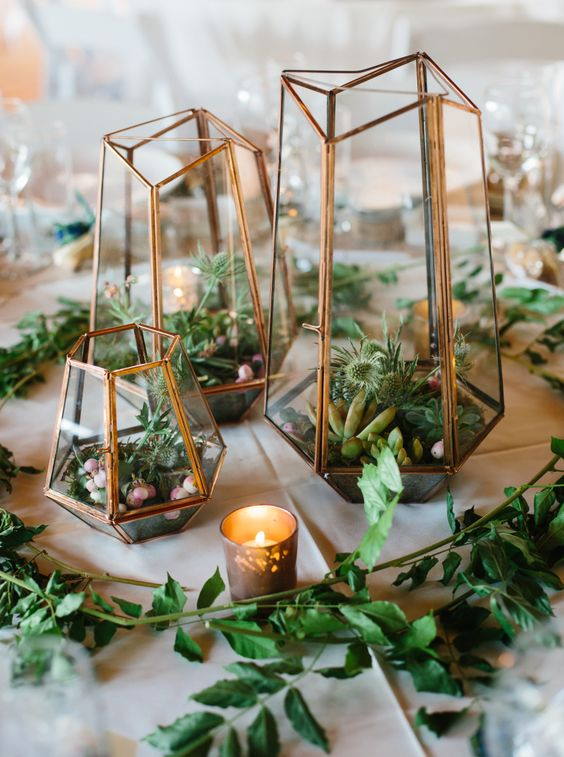geo succulent and cacti filled terrariums for a desert wedding