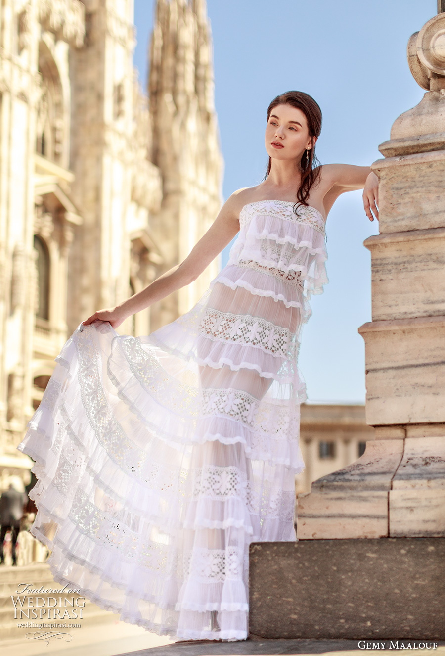 gemy maalouf 2017 bridal strapless straight across neckline full embroidered layer skirt bohemian modified a line wedding dress (4841) mv