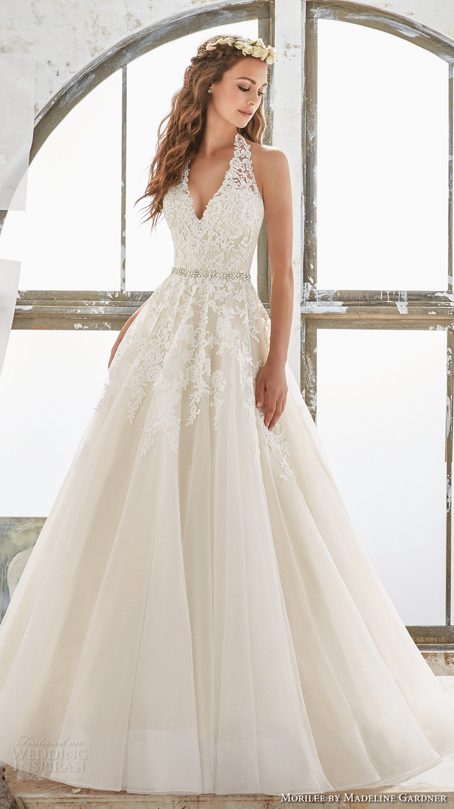 morilee spring 2017 bridal sleeveless halter v neck heavily embellished bodice romantic a line wedding dress open low back chapel train (5513) mv