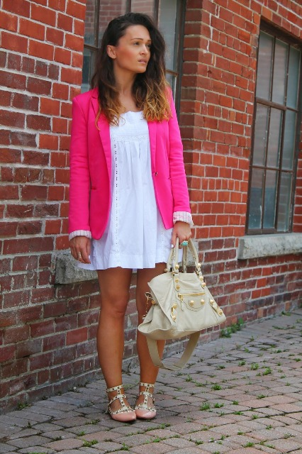 With white dress, peach flats and beige bag