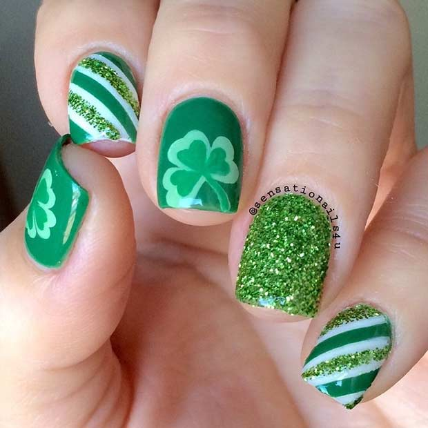 Green Stripes and Clovers Nail Design