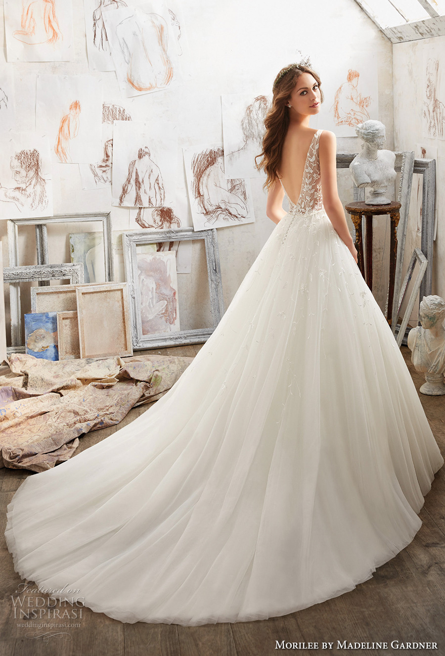 morilee spring 2017 bridal sleeveless v neck heavily embellished bodice tulle skirt romantic a line wedding dress open v back chapel train (5515) bv