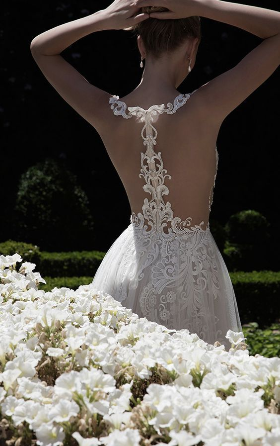 refined lace racerback wedding dress