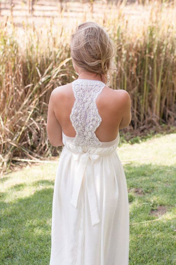 relaxed wedding gown with a lace racerback