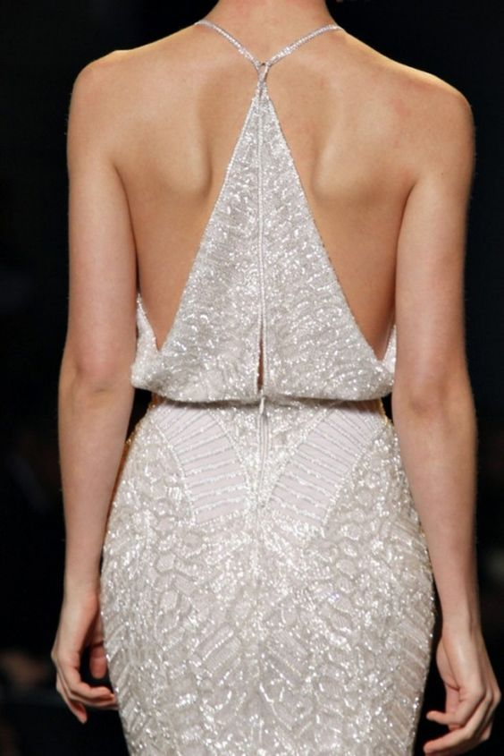 all-sparkling wedding dress with a racerback for a modern bride