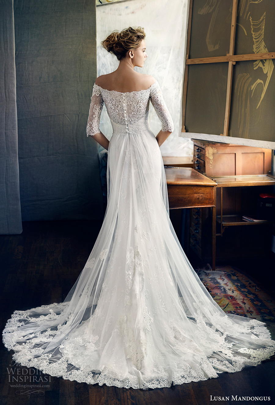 lusan mandongus 2017 bridal half sleeves off the shoulder illusion straight across sweetheart neckline heavily embellished bodice romantic covered lace back chapel train (zeta) bv