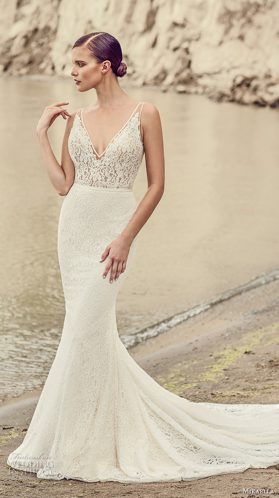 mikaella spring 2017 bridal sleeveless v neck full embroidered elegant fit and flare wedding dress open low back chapel train (2100) mv