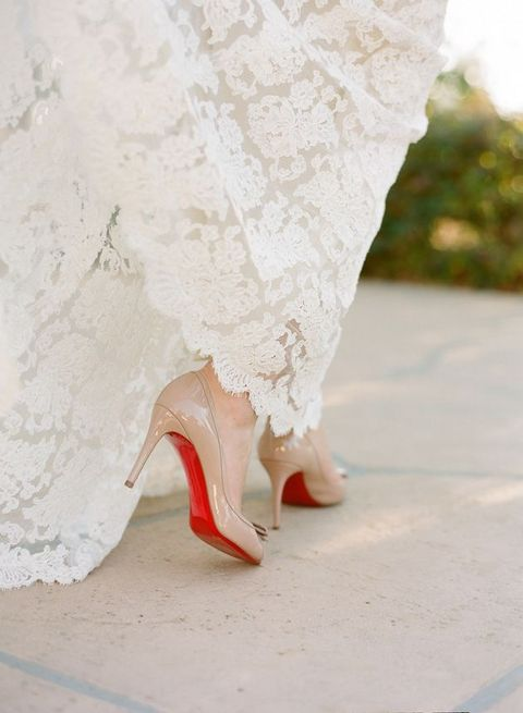 comfy nude heels with a red bottom