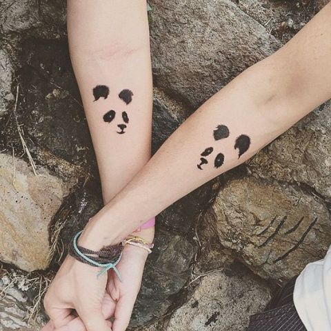 Panda bear matching tattoos