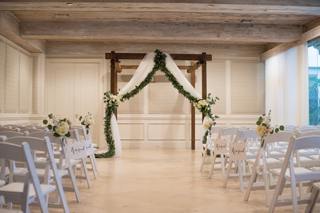 Indoor wedding ceremony with outdoor elements | Starfish Studios