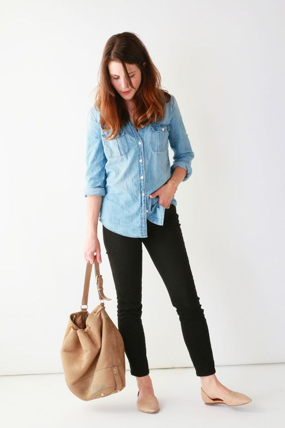 black denim, a chambray shirt and tan flats and a bag