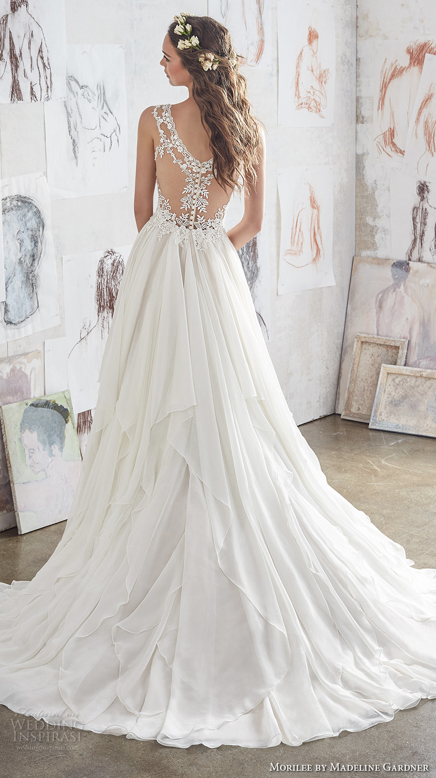morilee spring 2017 bridal sleeveless strap sweetheart neckline heavily embellished bodice layered skirt romantic modified a line wedding dress illusion lace back chapel train (5512) bv