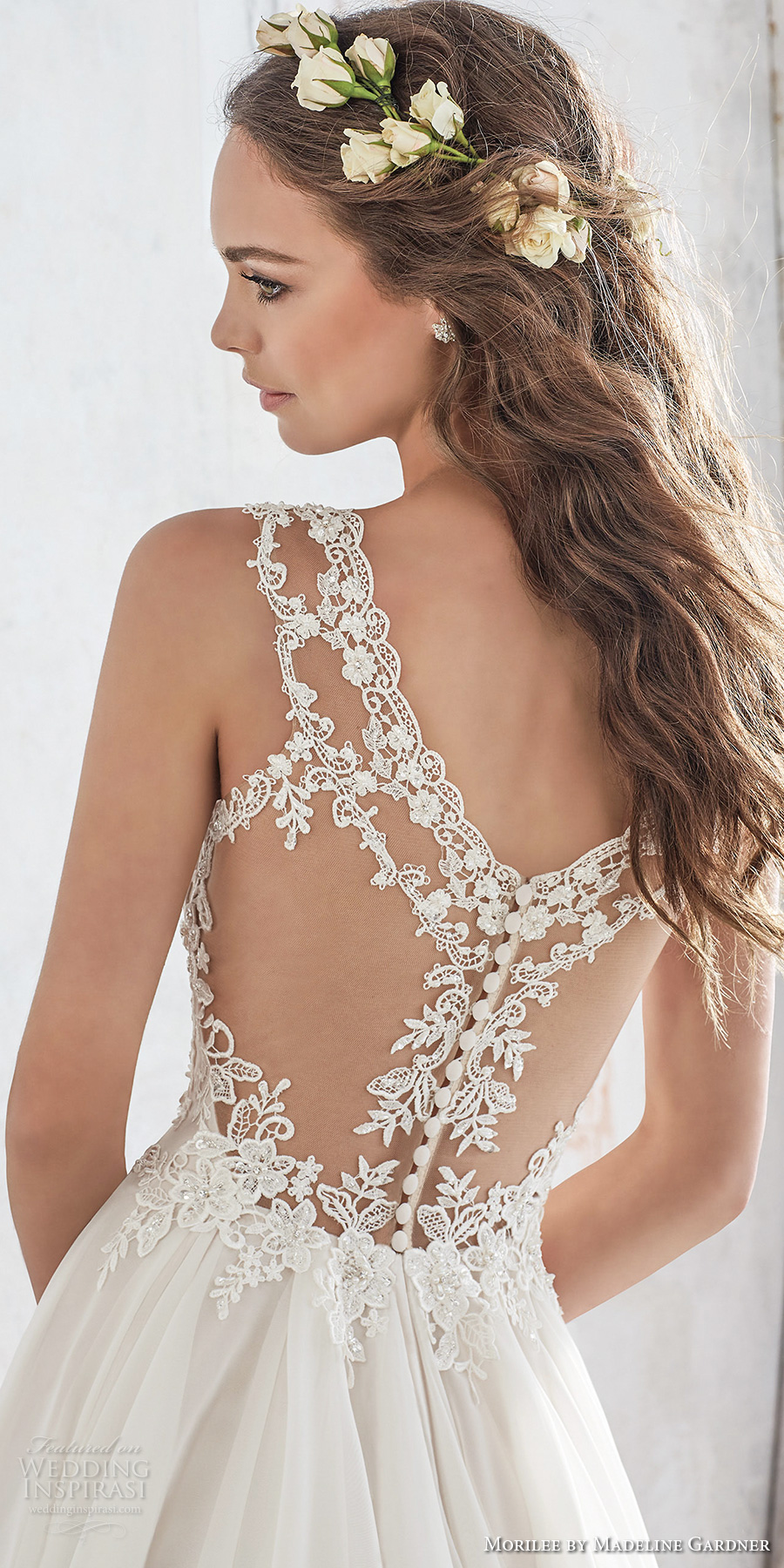 morilee spring 2017 bridal sleeveless strap sweetheart neckline heavily embellished bodice layered skirt romantic modified a line wedding dress illusion lace back chapel train (5512) zbv