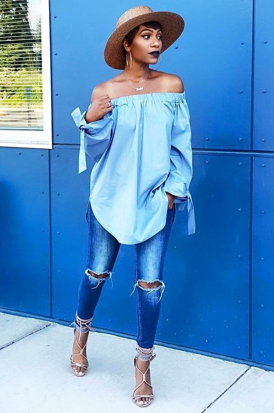 ripped blue jeans, a blush off the shoulde top, nude lace up heels