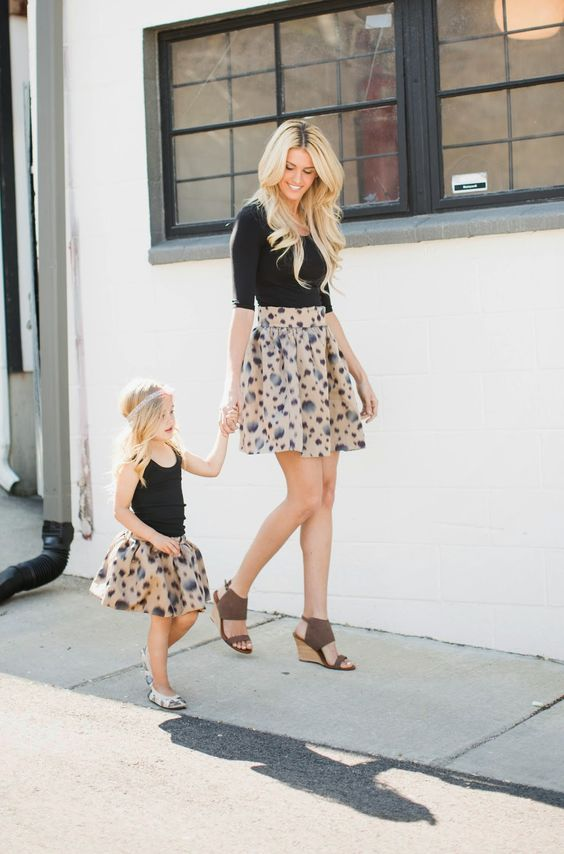 printed skirts, black tops, wedges for the mom and flats for the girl