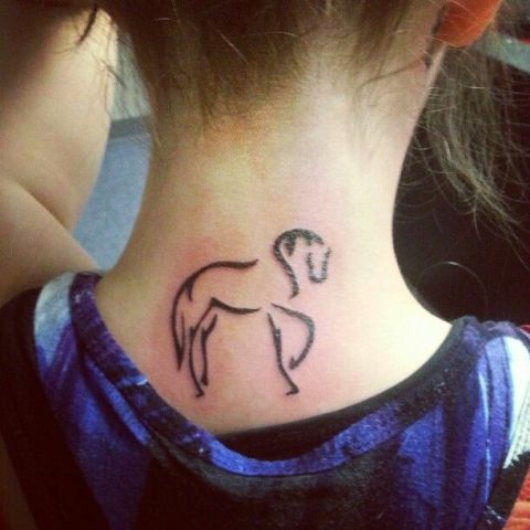 Silhouette tattoo on the neck