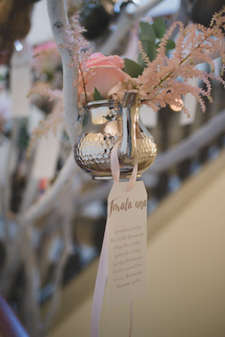 Tea kettle wedding detail with seating chart | Margherita Calati Photography