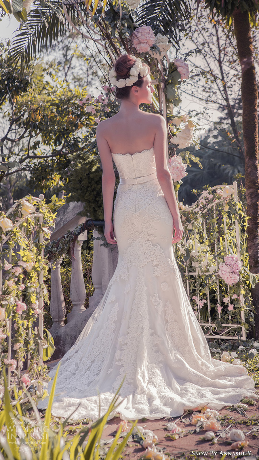 snow annasul y 2017 bridal (sa3065b) strapless sweetheart trumpet mermaid lace wedding dress bv train