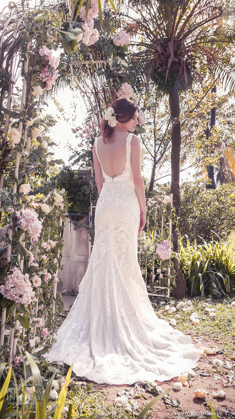snow annasul y 2017 bridal (sa3147b) sleeveless illusion bateau sweetheart trumpet mermaid lace wedding dress bv low back train