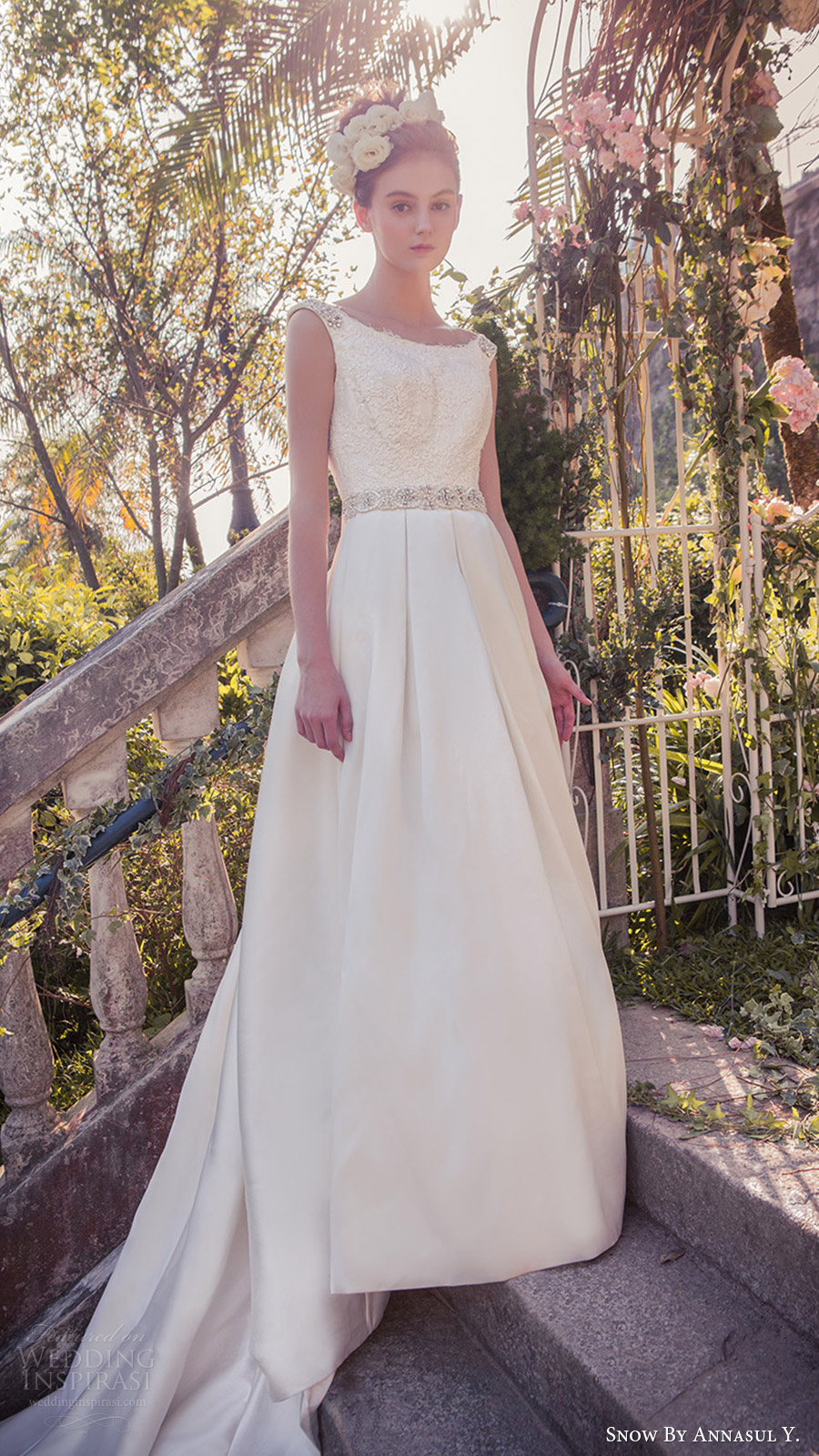 snow annasul y 2017 bridal (sa3202b) sleeveless embellished straps scoop neck ball gown wedding dress mv modern train