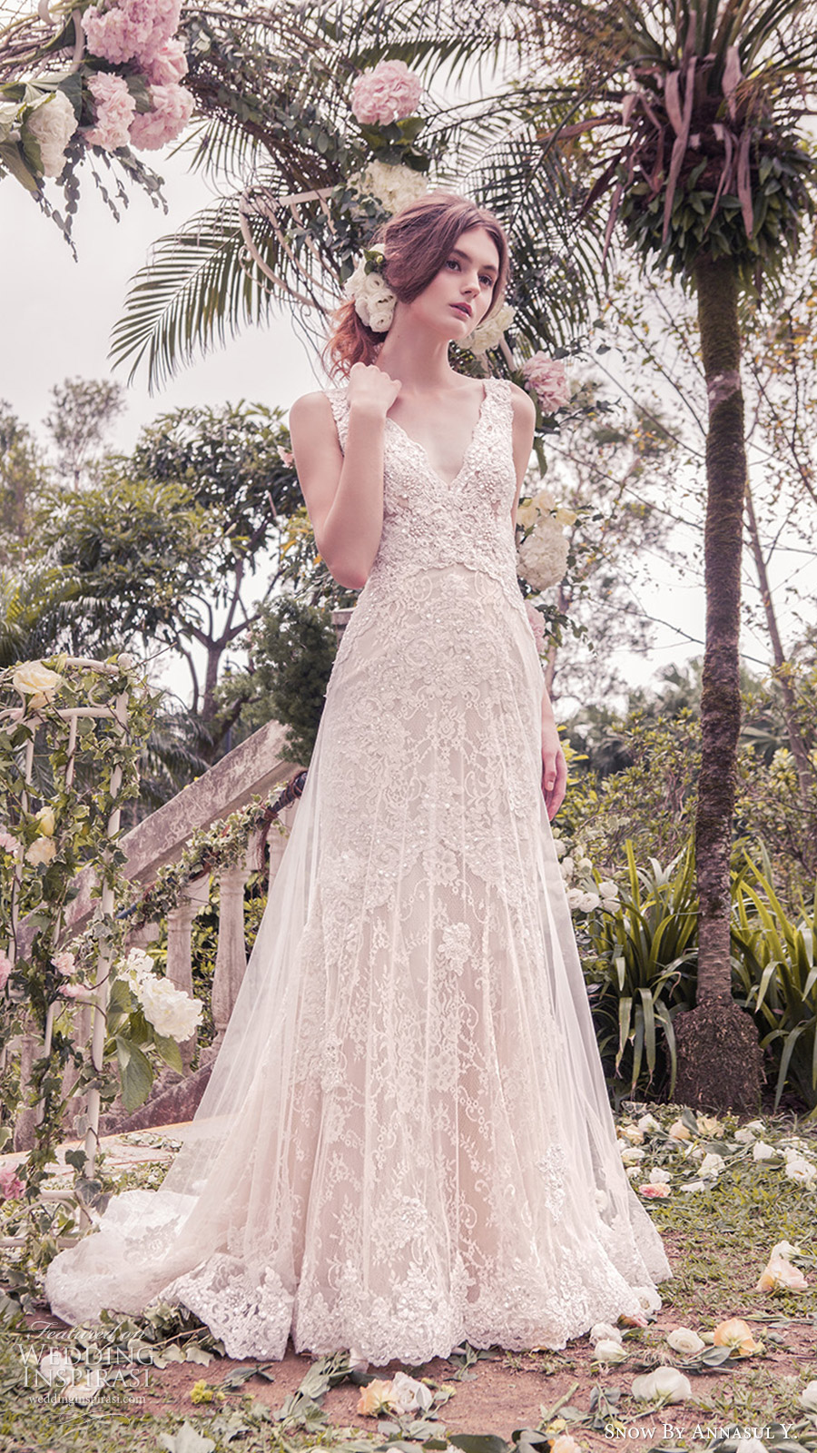 snow annasul y 2017 bridal (sa3244b) sleeveless v neck a line lace wedding dress train mv romantic